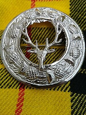"Scottish Stag Head Badge Fly Plaid Kilt Brooch In Chrome Finish Size 3"" Inches"