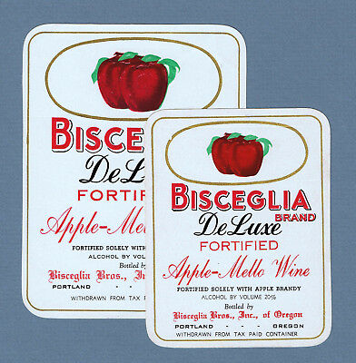 2 Vintage unused Bisceglia Bros. Brand APPLE Wine labels  Portland Oregon 2272