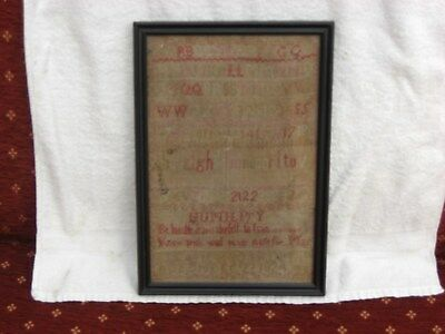 19Th Century Sampler, Faded, From 1824 By Eleanor Boardman Aged 10, Interesting