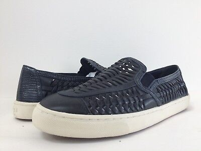 cadf7449255 New Tory Burch Women s Huarache Woven Leather Slip-On Sneakers Shoes Navy  10.5M