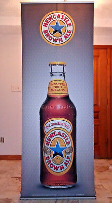 "Retractable Banner Stand New Castle Beer Advertise Orient 1000 assm 85""x 40""x 7"""