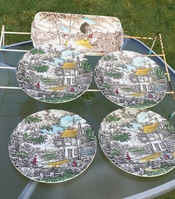 Staffordshire Ware 4 Plates 1 Serving dish plate by W H Grindley
