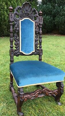 Vintage Antique Jacobean Victorian Edwardian Hand Carved Wooden Dining Chair
