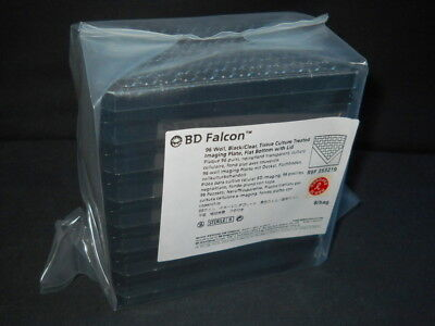 (8) BD Falcon Black 96-Well Sterile TC Clear Bottom Imaging Plates & Lids 353219