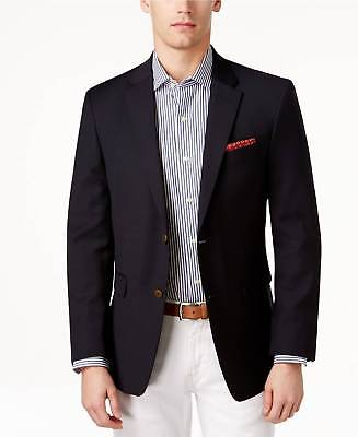 $300 Tommy Hilfiger Mens Fit Wool Blazer Blue 2 Button Jacket Sport Coat 40 R