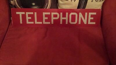 Vintage RED ORIGINAL GLASS TELEPHONE BOOTH INSERT PANEL  22 1/4""