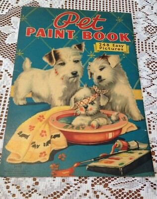 Vintage Paint Book Cover with Sealyham Terrier Dogs