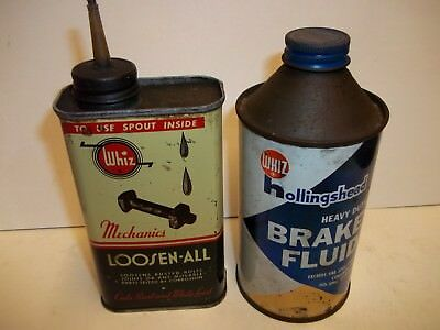 Vintage Whiz Loosen All and Brake fluid cans-cone top