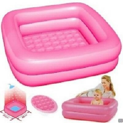 BESTWAY INFLATABLE PINK BABY BATH 86cm SQUARE NEW