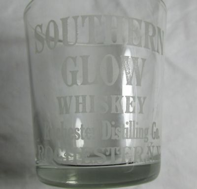 Early Southern Glow Whiskey Shot Glass, Vintage Whisky Pre-Prohibition Rochester