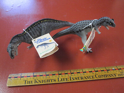 Carnegie Collection dinosaurs--Carnotaurus and Acrocanthosaurus with tags
