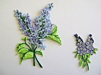 """Fully Embroidered Iron On Applique Light Blue Gardening 6 3//4/""""H Flowers"""