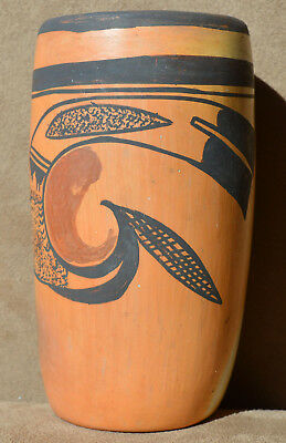 """HOPI Polychrome Black and Red on Tan Cylinder Vessel - 6-1/2"""" Tall"""