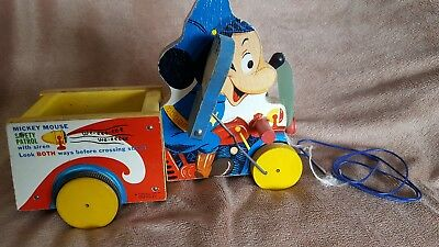 Disney 1956 Mickey Mouse Safety Patrol with Siren Fisher Price Pull Toy 733