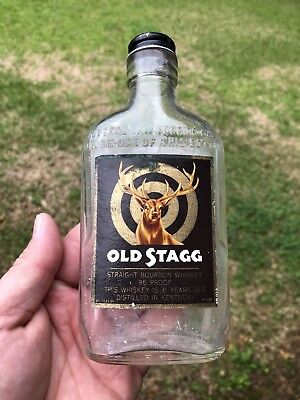 Rare Post Prohibition Old Stagg Kentucky Paper Label Bourbon Whiskey Bottle