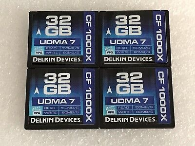 *QTY 4* DELKIN DEVICES 32GB 150MB/s UDMA 7 CF1000X COMPACT FLASH MEMORY CARD