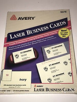 Avery business cards for inkjet printers matte white pack of 250 avery business cards for laser printers 5376 ivory micro perfed pack of reheart Choice Image