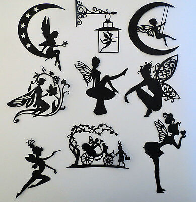 Fairies #2 Fairy Intricate Paper Die Cut Embellishments scrapbooking 9 pc Black