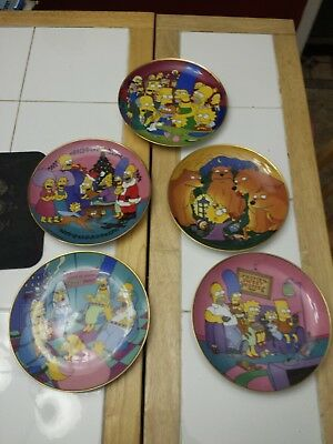 The Franklin Mint Porcelain The Simpsons Collectors Plates Lot Of 6