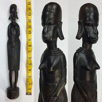 """Vintage Tall Carved Wood African Woman Statue 13"""" Tall Fertility Decoration Art"""