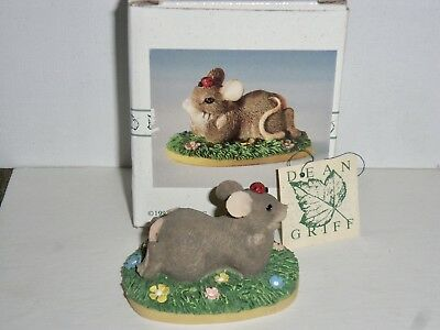"Charming Tails ""I'm Thinking Of You"" Mouse Lying On Grass Field Figure"