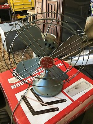FREE SHIPPING!!! VINTAGE RED TAG General Electric 4-12in Blade Fan GREY 2 Speed
