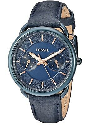 Fossil Women's Quartz Stainless Steel and Leather Casual Watch, Color:Blue