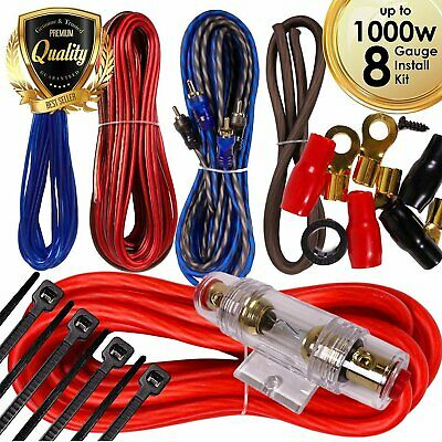 Complete 1000W 8 Gauge Car Amplifier Installation Wiring Kit Amp PK2 8 Ga Red