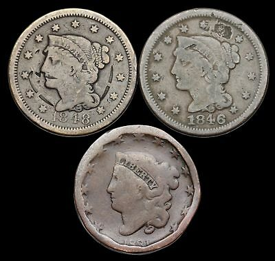 Braided Hair and Coronet Head Large Cent, Lot of 3, 1831, 1846, 1848