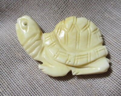 LRG HAND CARVED BONE realistic LISTENING LONGEVITY TURTLE - 1-3/8th inches
