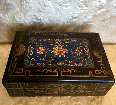 Antique Chinese Cloisonne & Lacquer Gold Gilded Painted Box W/ Bats & Flowers