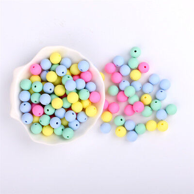 50Pcs Round Silicone Beads DIY Baby Chewable Teething Jewelry Teether Making