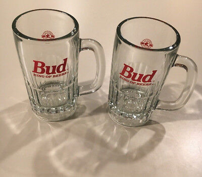 Pair of Vintage Budweiser Bud King of Beers Mug / Glass - 5.75 inches tall