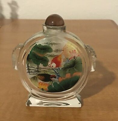 Reverse Painted Snuff Bottle Bug Eyed Fish 2 Designs Hawaii Hefty Solid Glass