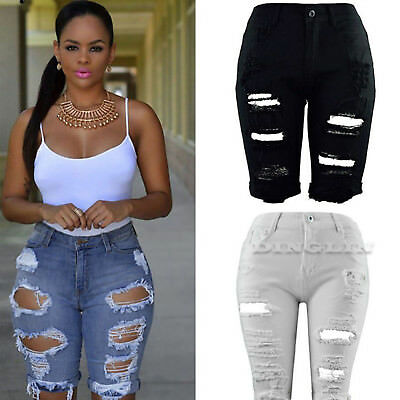 Women Skinny Ripped Holes Jeans Short Pants High Waist Stretch Pencil Trousers