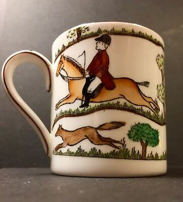 Crown Staffordshire Hunting Scene Demitasse Cup England Horse Fox