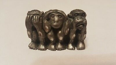 Monkey pewter  Figurine See Hear Speak No Evil