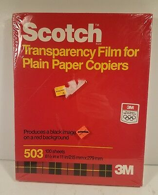 Scotch 3M Transparency Film 503 Black Image on Red Background 100 sheets 3M