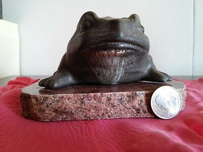 pottery frog toad on  granite stone base signed