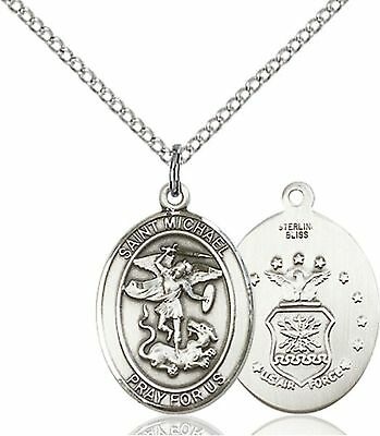 Sterling Silver Saint St. Michael Air Force USAF Airman Patron Military Necklace
