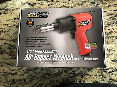"""Central Pneumatic Earthquake 62746 1/2"""" Air Impact Wrench w/ 2"""" Extended Anvil"""