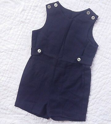 IMP Originals Vintage Wool Romper Short-alls Navy Blue Dressy Boys Size 4T