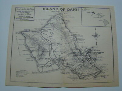 Island of Oahu Territory of Hawaii Highways, Roads, Trails & Railways Map 1950's