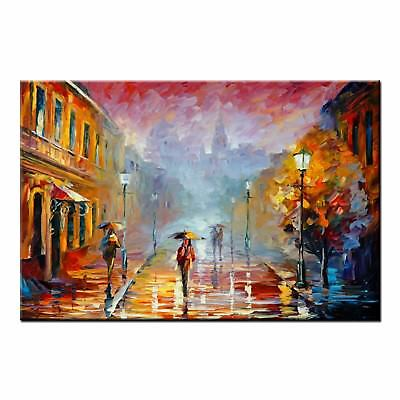 Abstract Oil Painting CANVAS PRINTS Raining Street Home Decor Wall Art Pictures