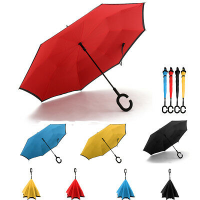 C-Handle Double Layer Inverted Upside Down Umbrella Self Standing Golf Fishing