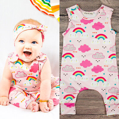Baby Toddler Girls Sleeveless Rainbow Romper Bodysuit Jumpsuit Clothes Outfits