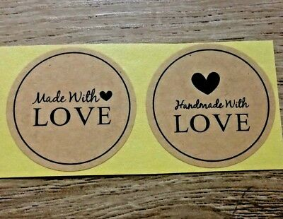 30/50x Kraft Paper 'Hand Made with Love' Paper Label Sticker Seal for Favor Gift
