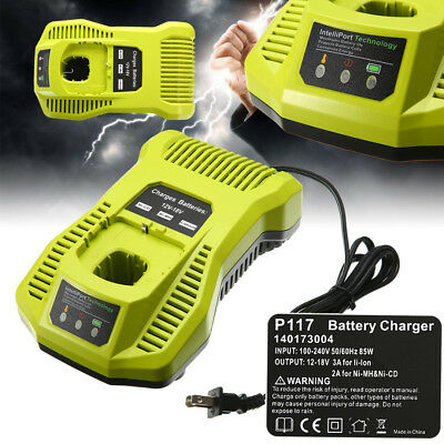 110-220v Ryobi IntelliPort + P117 18V double Chargeur Rapide remplacement chimie