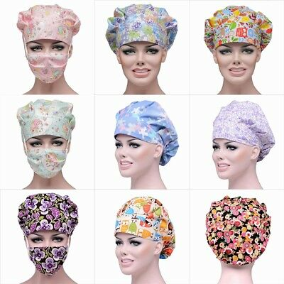 Unisex Womens Scrub Caps Hospital Working Medical Surgical Surgery Hat/Cap Mask