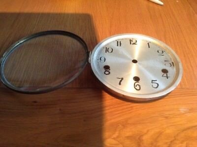 "Vintage Mantel Clock Face & Glass Door 5 1/2""          (I)"